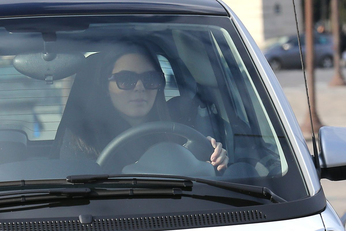 KENDALL JENNER Driving Smart Car on Her Eay to Musee du Douvre in Paris