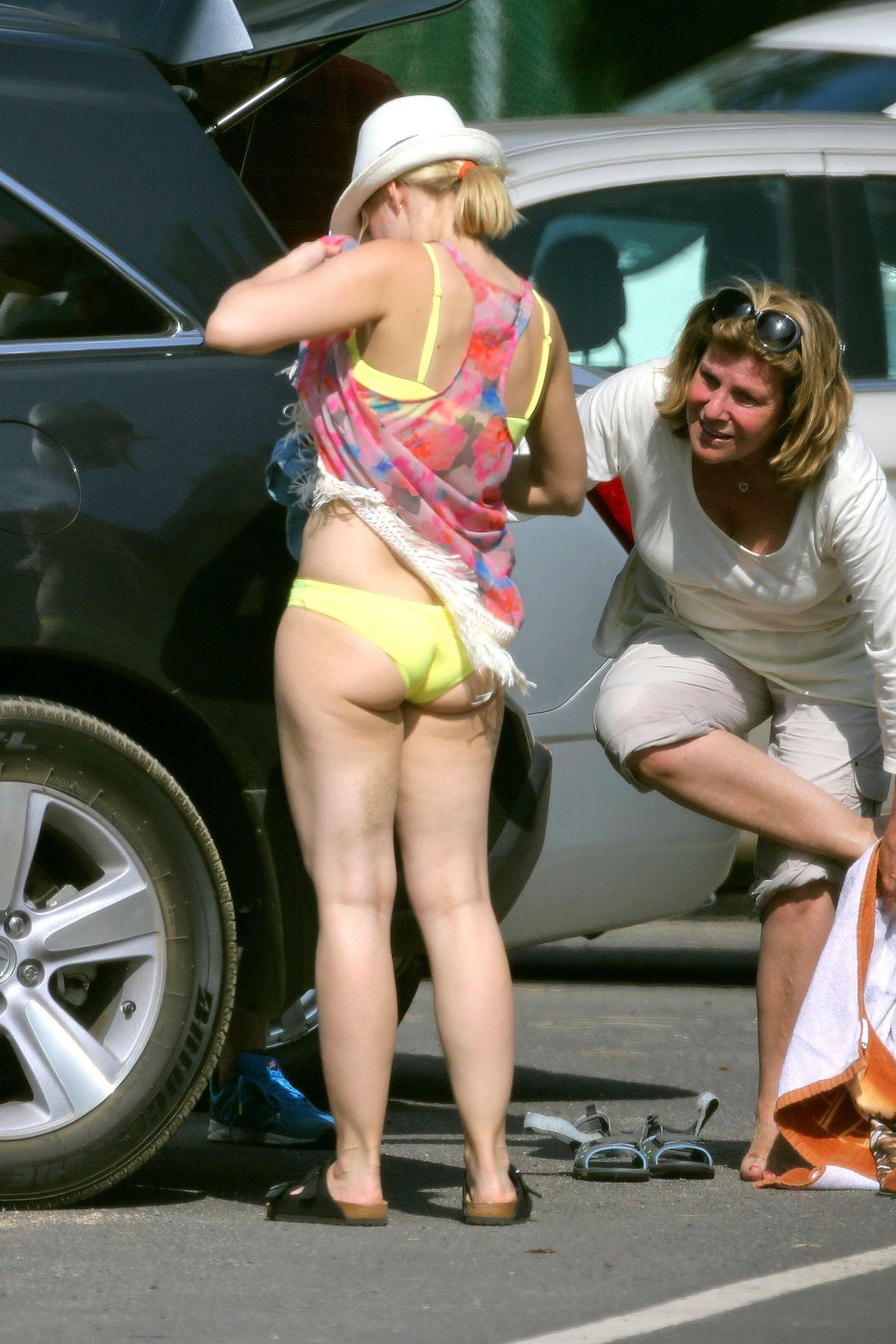 KRISTEN BELL in Bikini Bottoms on a Beach in Kapalua - HawtCelebs