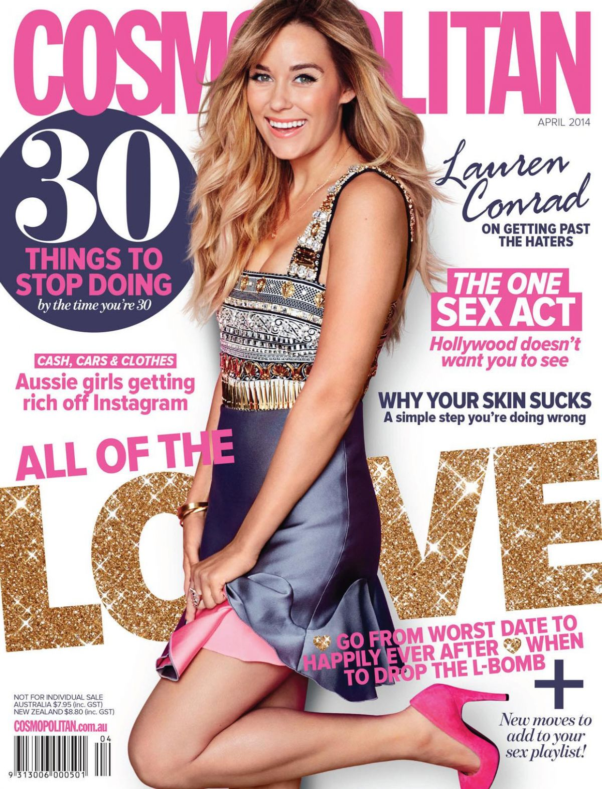 LAUREN CONRAD on the Cover of Cosmopolitan Magazine, April 2014 Issue