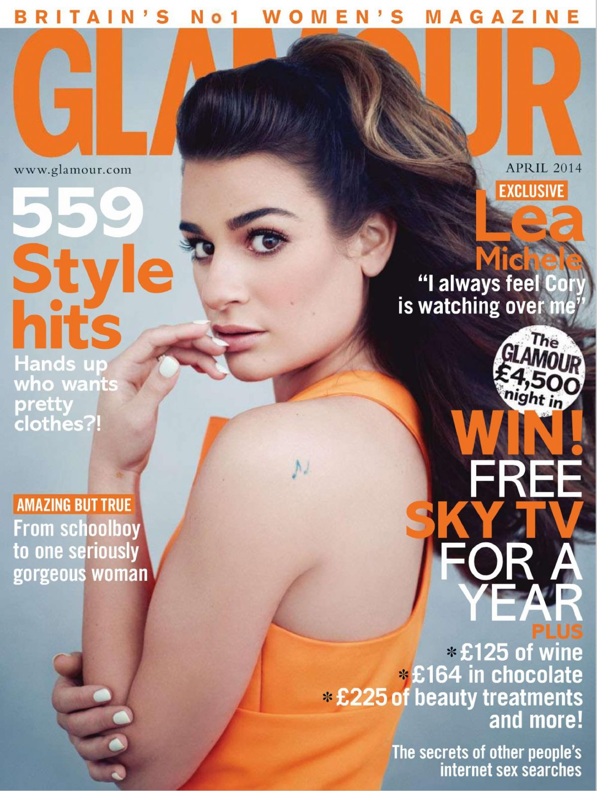 LEA MICHELE in Glamour Magazine, April 2014 Issue – HawtCelebs