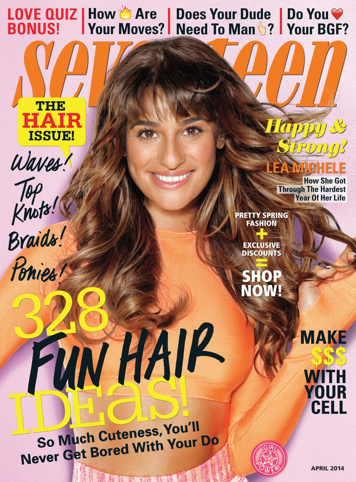 LEA MICHELE on the Cover of Seventeen Magazine, April 2014 Issue
