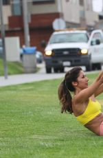 LEILANI DOWDING at Work Out Session in a Park in Los Angeles