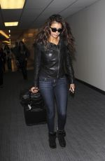 NINA DOBREC in Leather Jacket and Jeans at LAX Airport