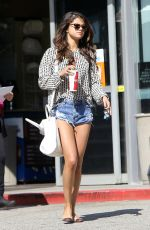 SELENA GOMEZ in Jeans Shorts Out in Los Angeles