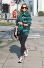SYLVIE VAN DER VAART in Tights heading to a Gym in Hamburg