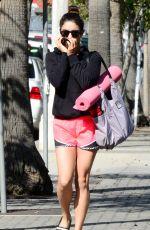 VANESSA HUDGENS in Shorts Leaves Yoga Classes in Studio City