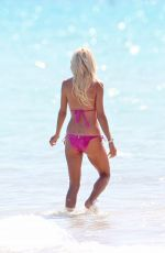 VICTORIA SILVSTEDT in Pink Bikini on the Beach in Miami