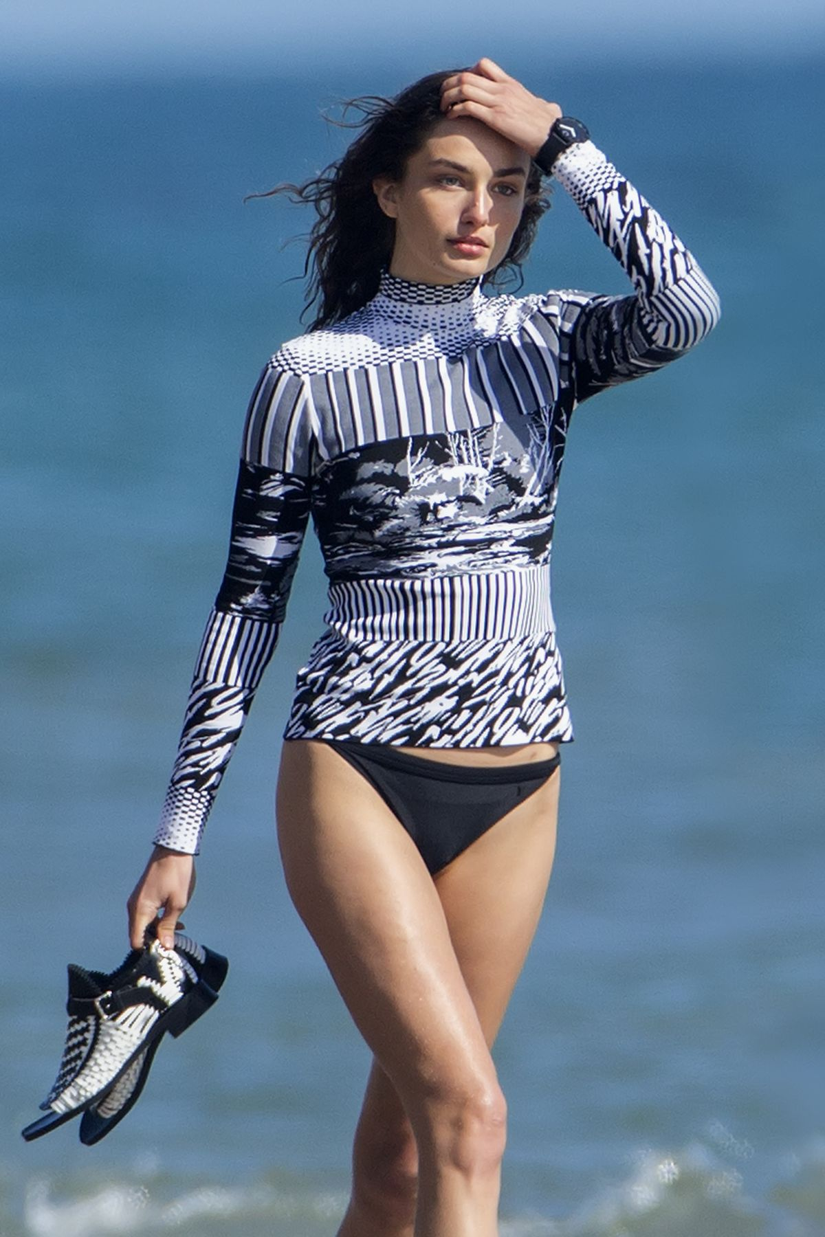 ANDREEA DIAONU at Vogue Photoshoot on the Beach in Malibu
