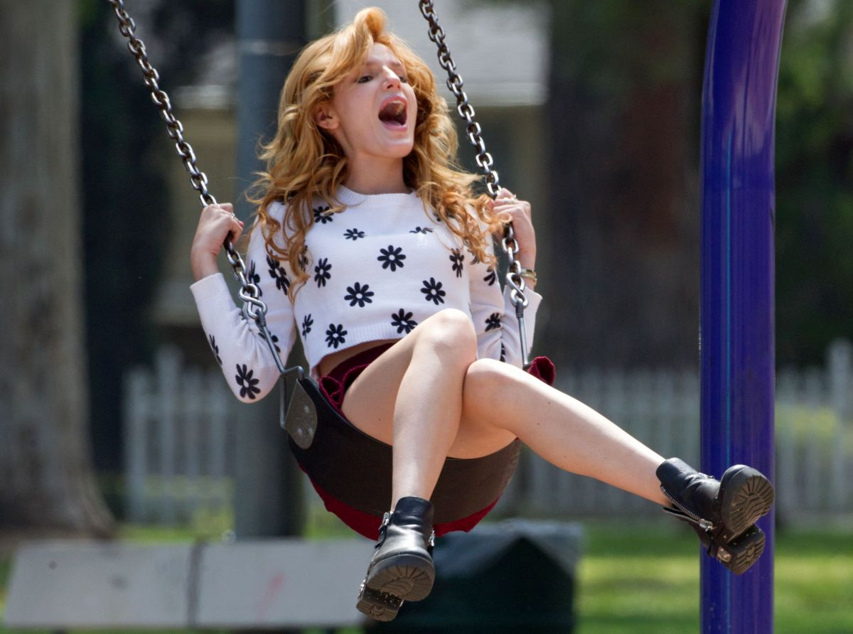 BELLA THORNE on the Set of Mostly Ghostly 2 in La Mar