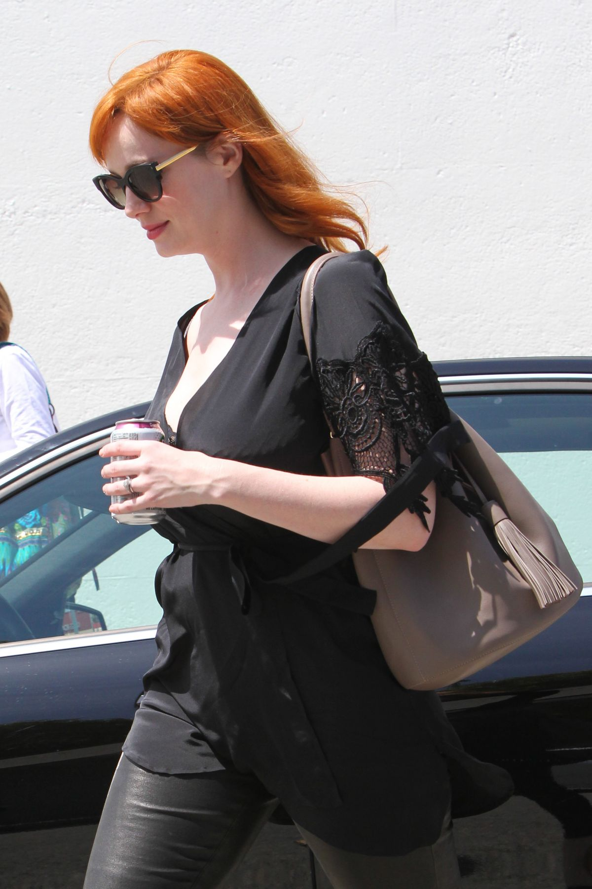Christina Hendricks all in Black - Out Shopping in Los