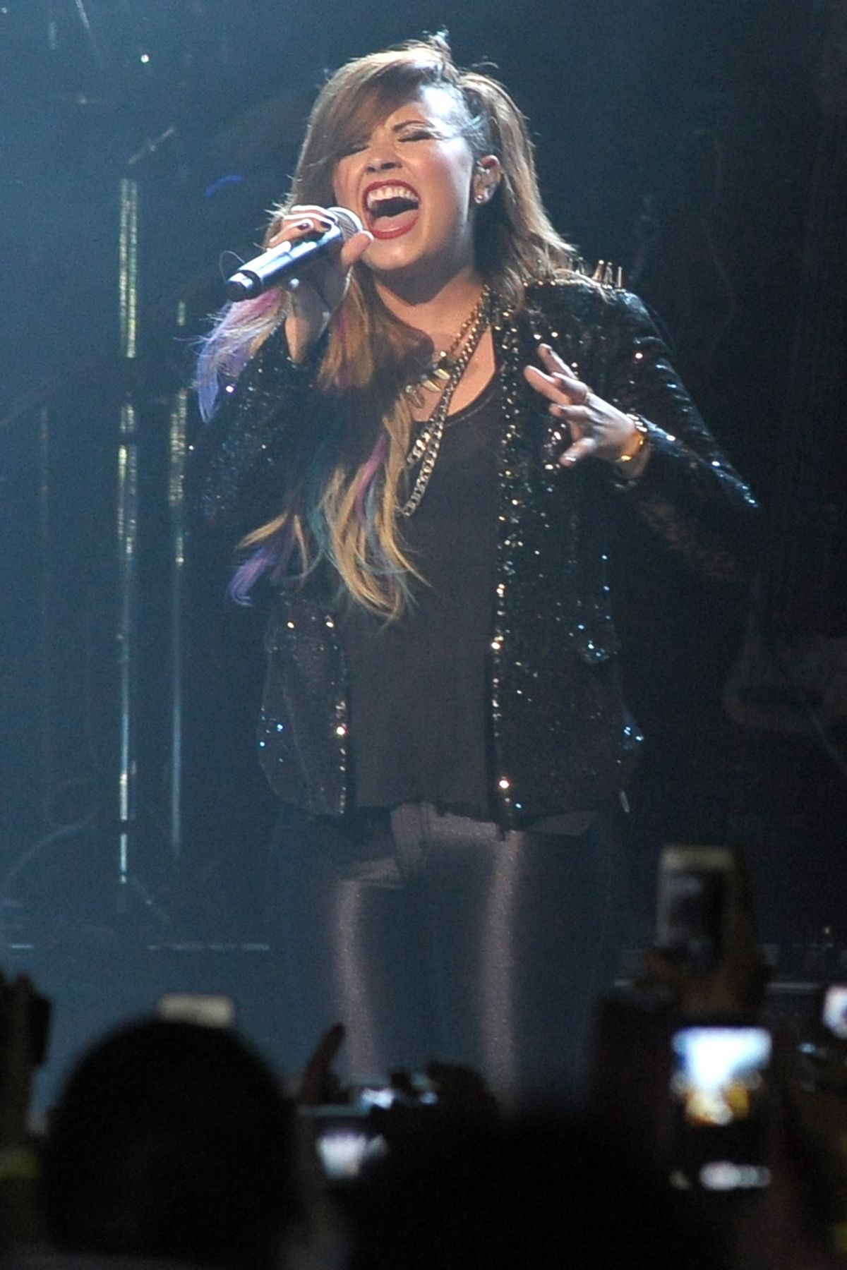 DEMI LOVATO Performs at Neon Lights Tour in Sao Paulo