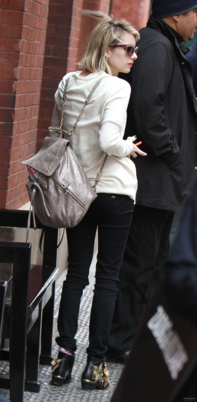 emma roberts leaves mercer kitchen restaurant in new york