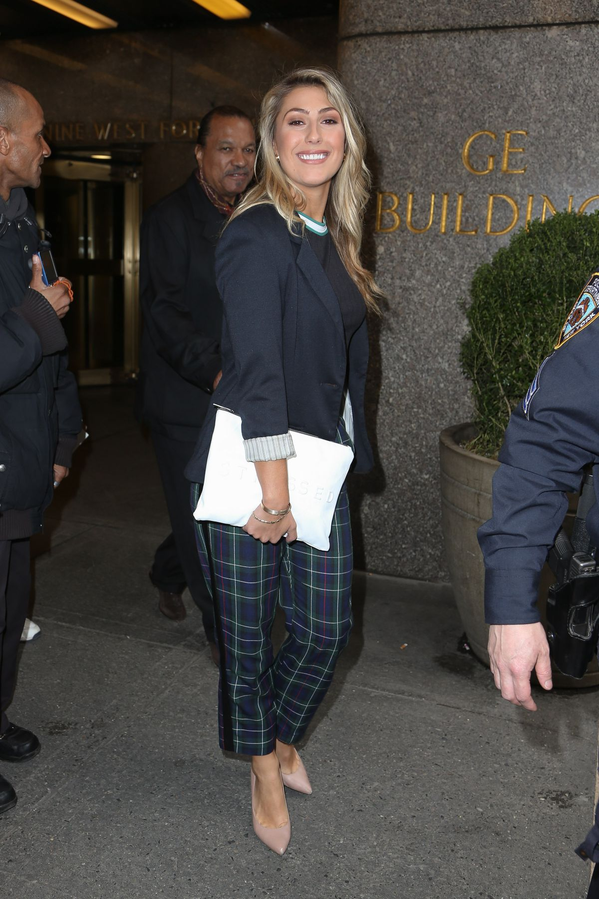 EMMA SLATER Leaves NBC Studios in New York
