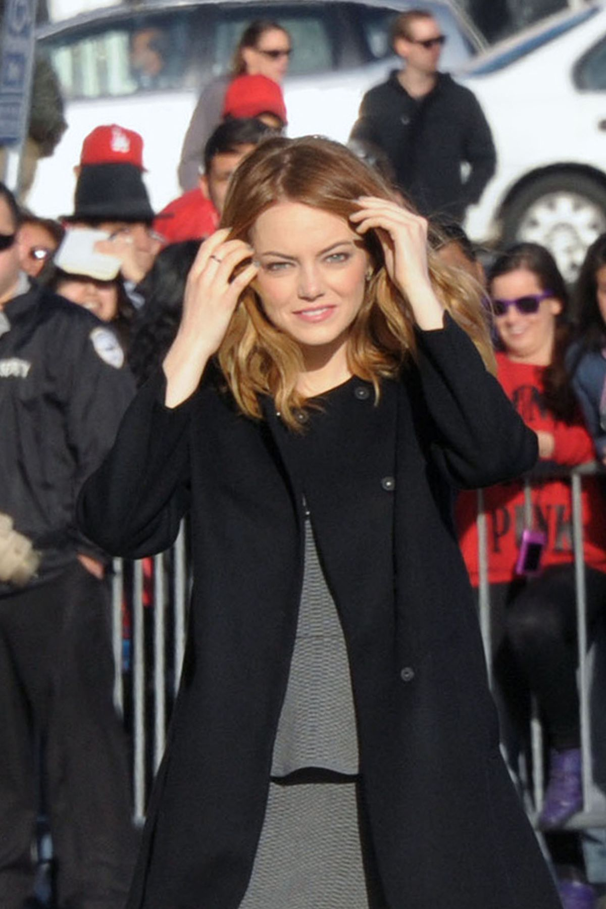 EMMA STONE Arrives at Jimmy Kimmel Live! in Hollywood