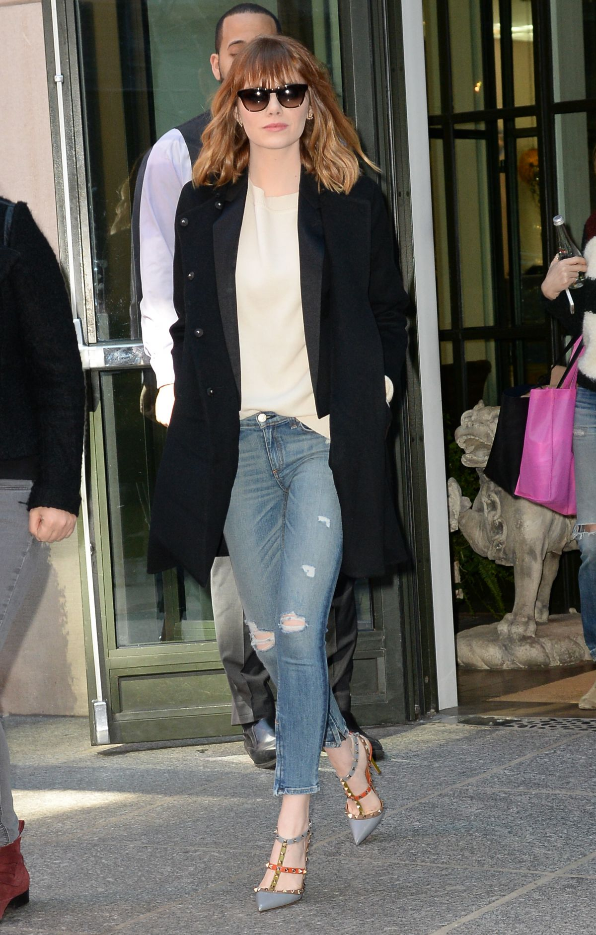 EMMA STONE Leaves Her Hotel in Soho