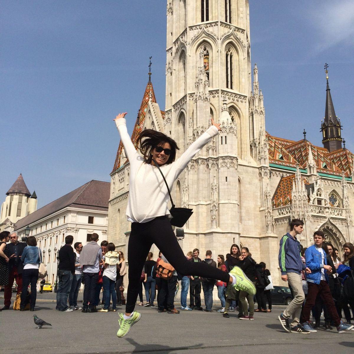 EVA LONGORIA - Jumps for Joy in Budapest