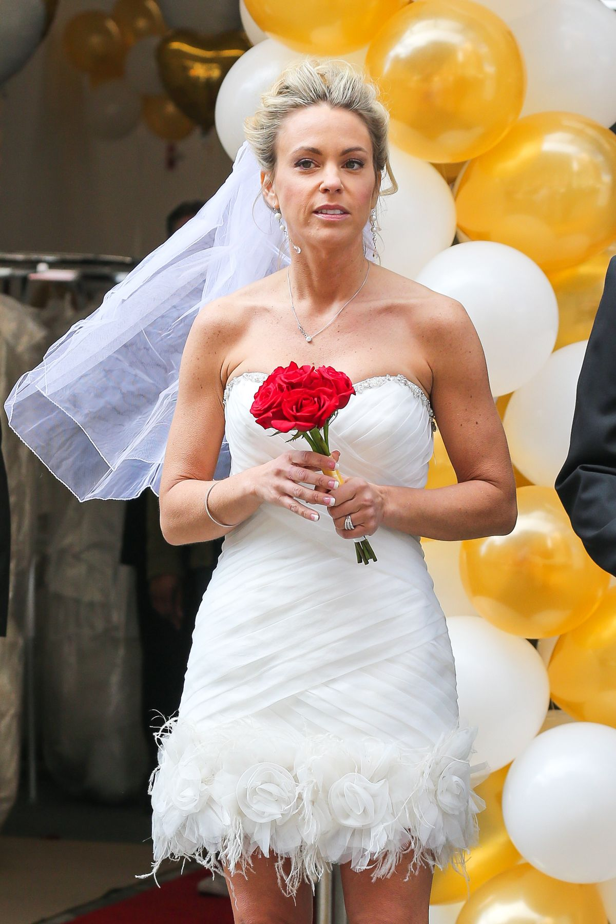 KATE GOSSELIN in Wedding Dress Promotes Brides for a Day in New York