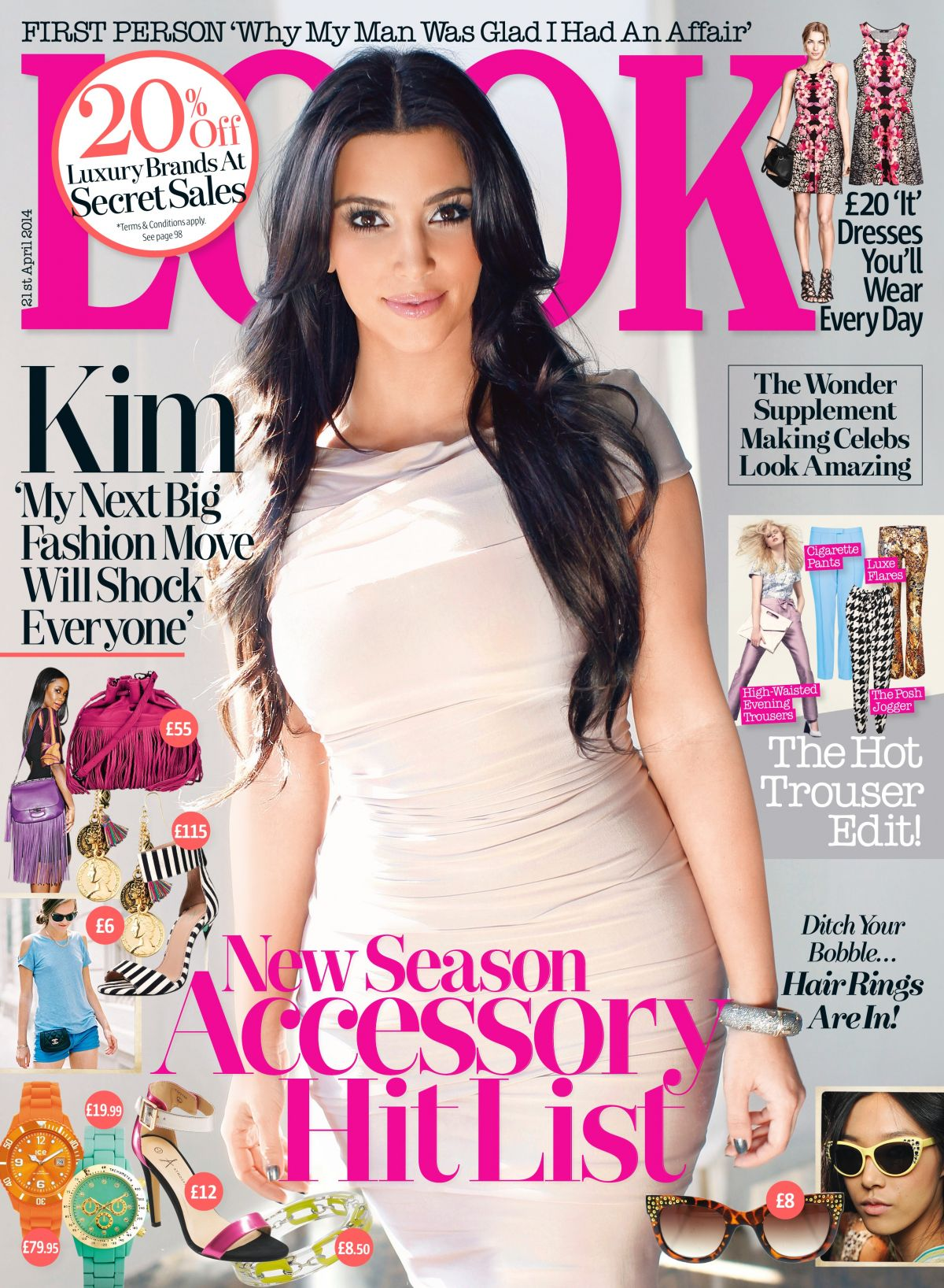 KIM KARDASHIAN on the Cover of Look Magazine, April 2014 Issue
