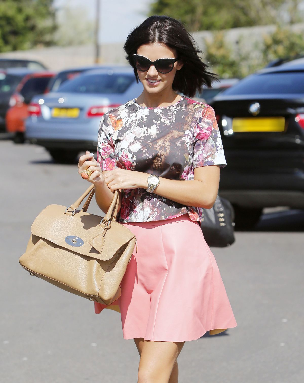 LUCY MECKLENBURGH in Short Skirt Out to Lunch