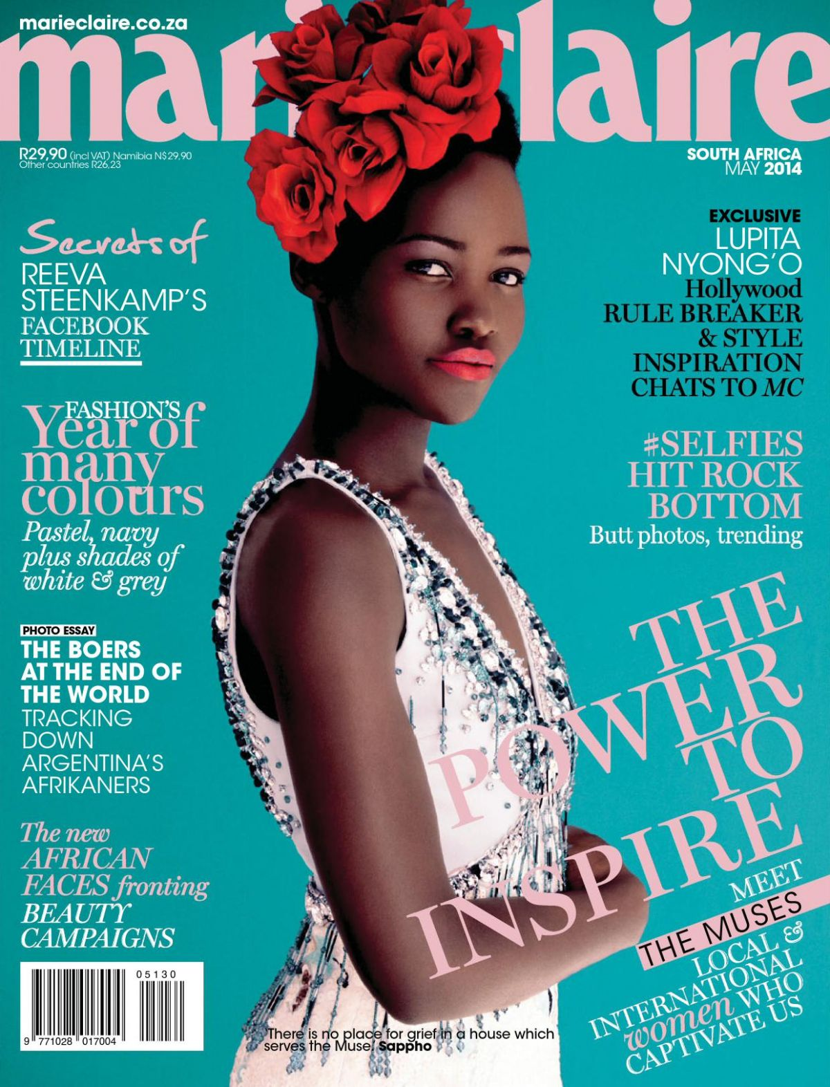 lupita nyong o in marie claire magazine south africa may 2014 issue hawtcelebs. Black Bedroom Furniture Sets. Home Design Ideas