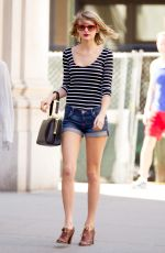 TAYLOR SWIFT in Jeans Shorts Out in New York