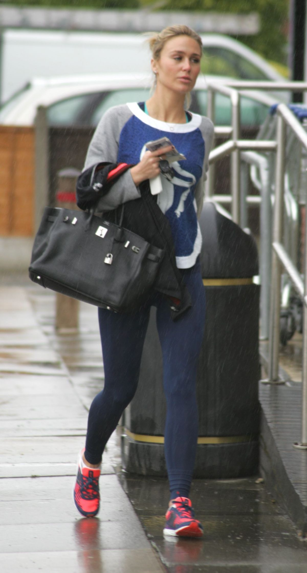 ALEX GERRARD in Tights Leaves a Gym in Liverpool
