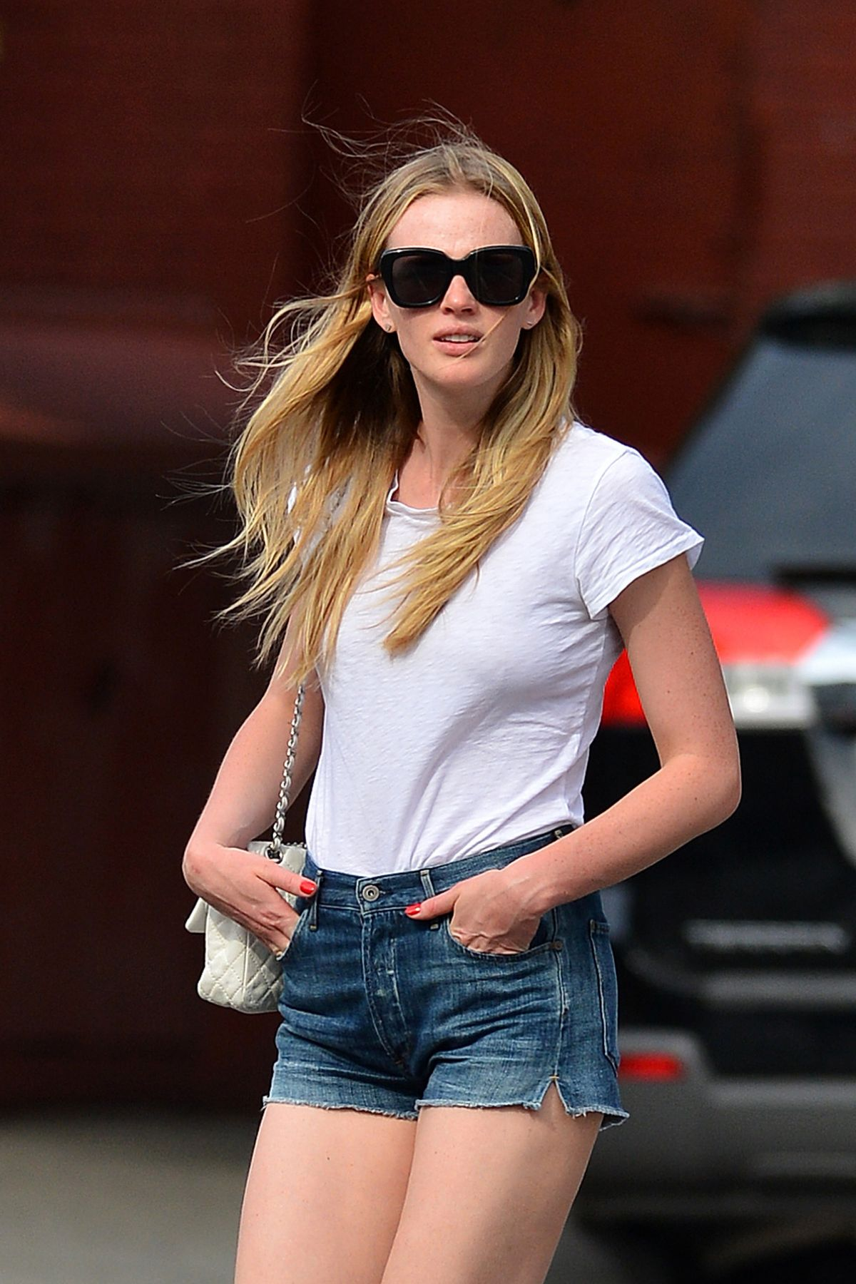 ANNE VYALITSYNA in Jeans Shorts Out in New York