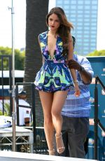 EIZA GONZALEZ on the Set of Extra in Los Angeles