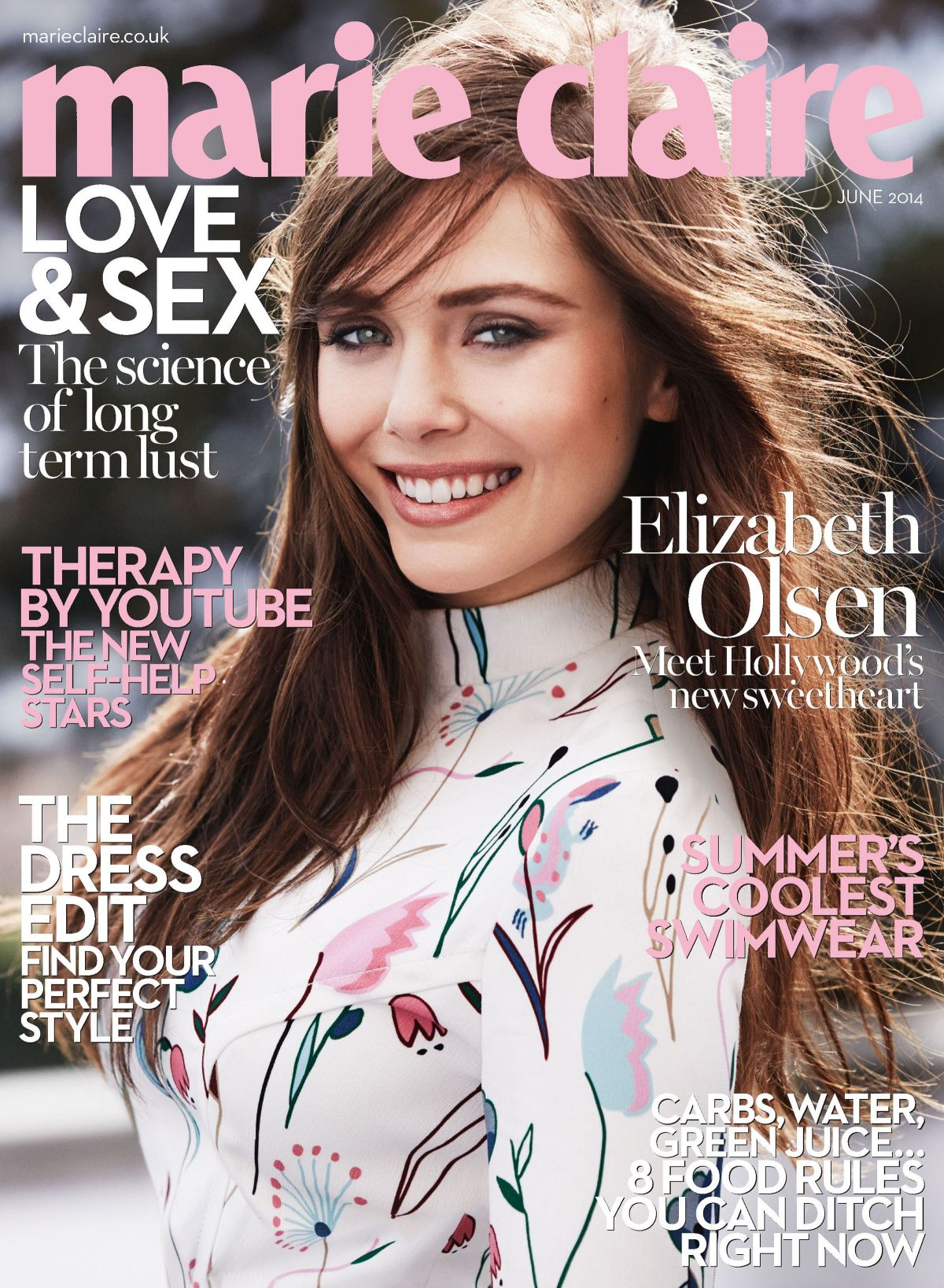 ELIZABETH OLSEN on the Cover of Marie Claire Magazine, June 2014 Issue