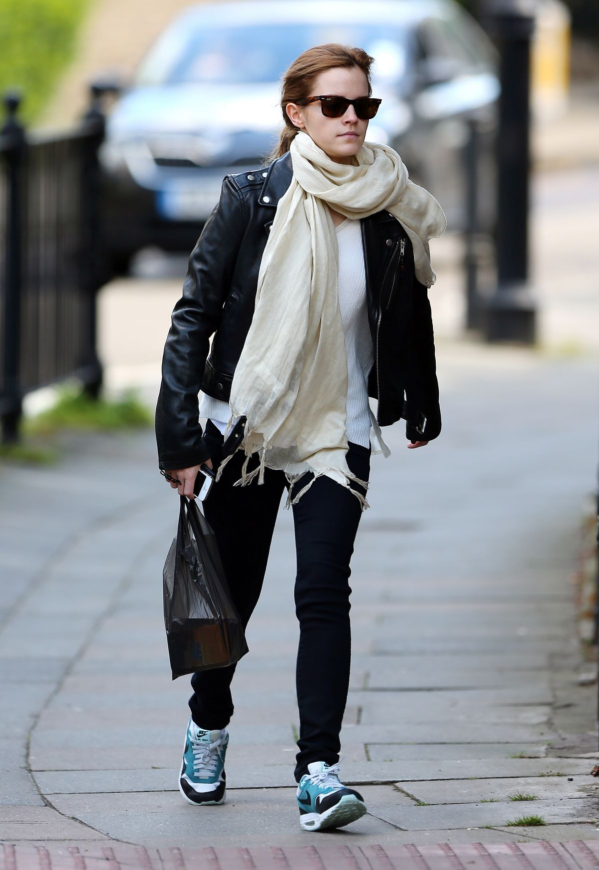 Love Quotes Scarf Emma Watson Out And About In London  Hawtcelebs  Hawtcelebs