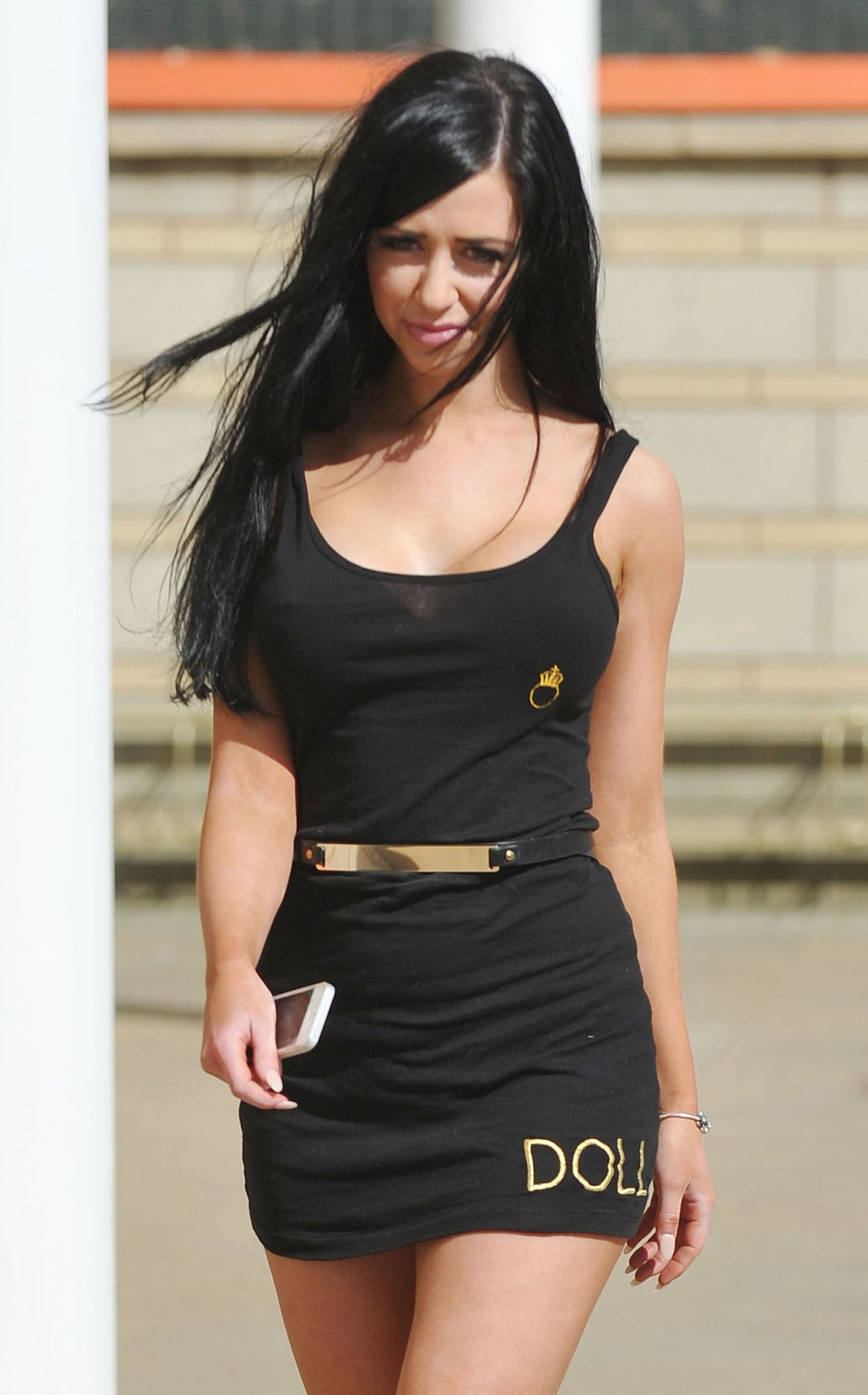 JENNA JONATHAN in Tight Mini Dress Out in Manchester