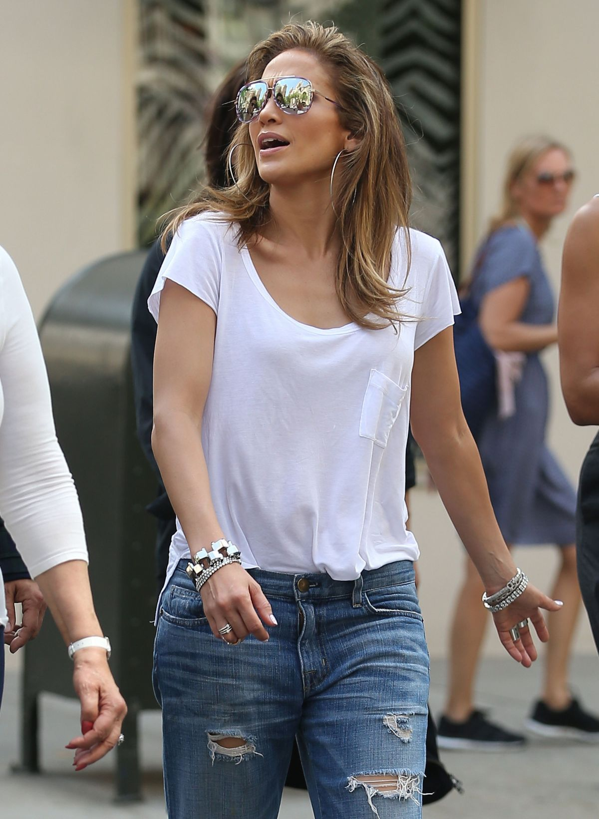 JENNIFER LOPEZ in Ripped Jeans Out in New York