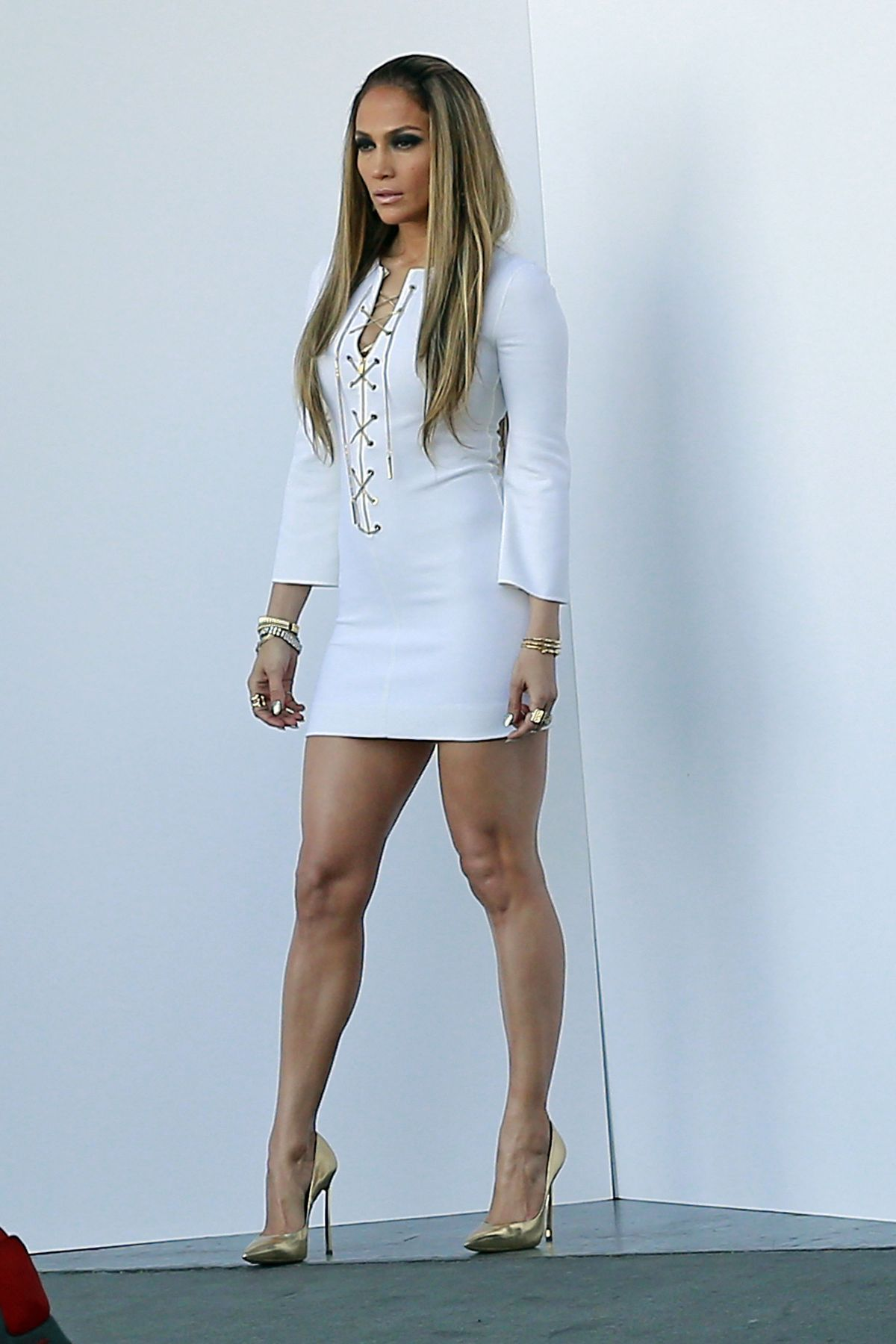 JENNIFER LOPEZ in White Dress on the Set of American Idol in Hollywood