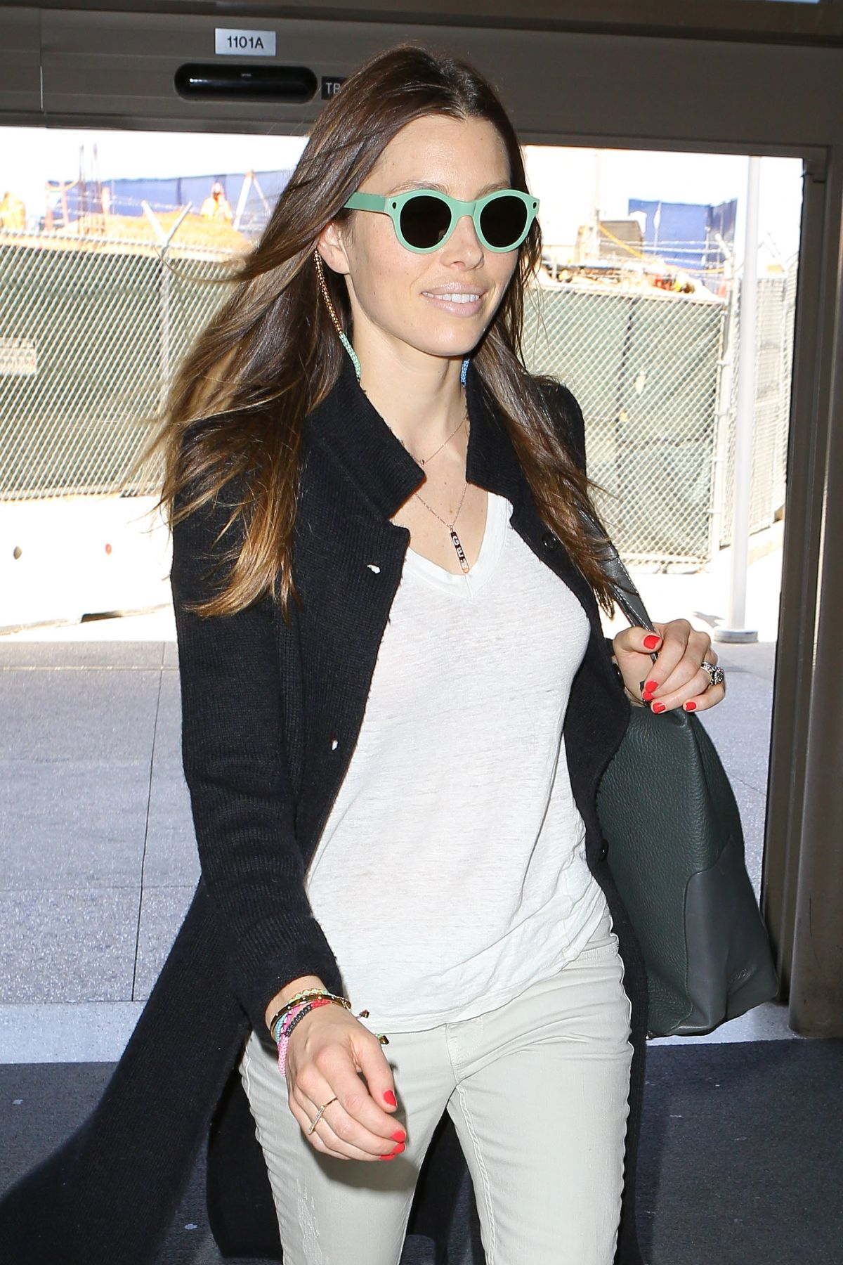 JESSICA BIEL Arrives at LAX Airport in Los Angeles