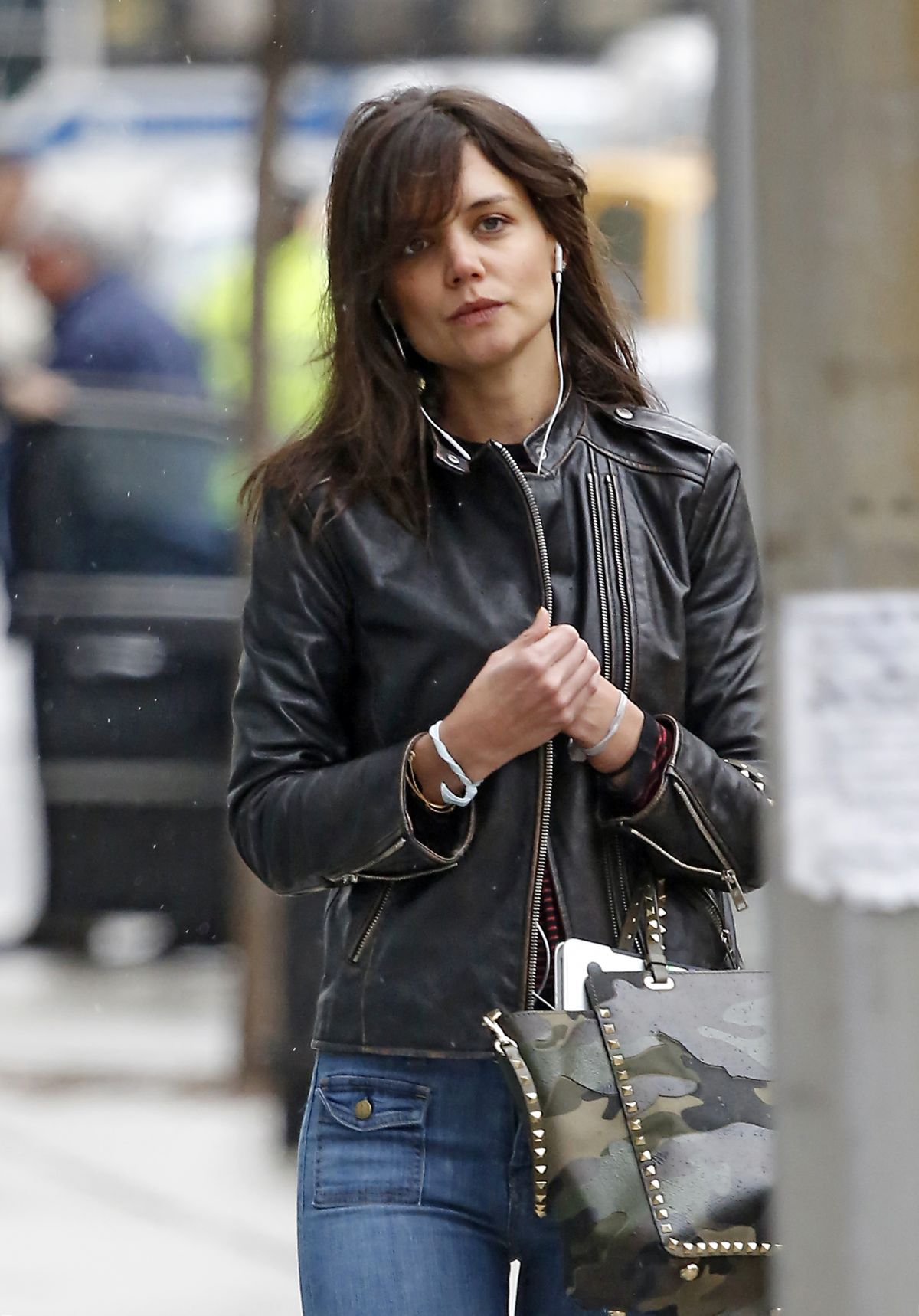 katie holmes in leather jacket and jeans out in new york