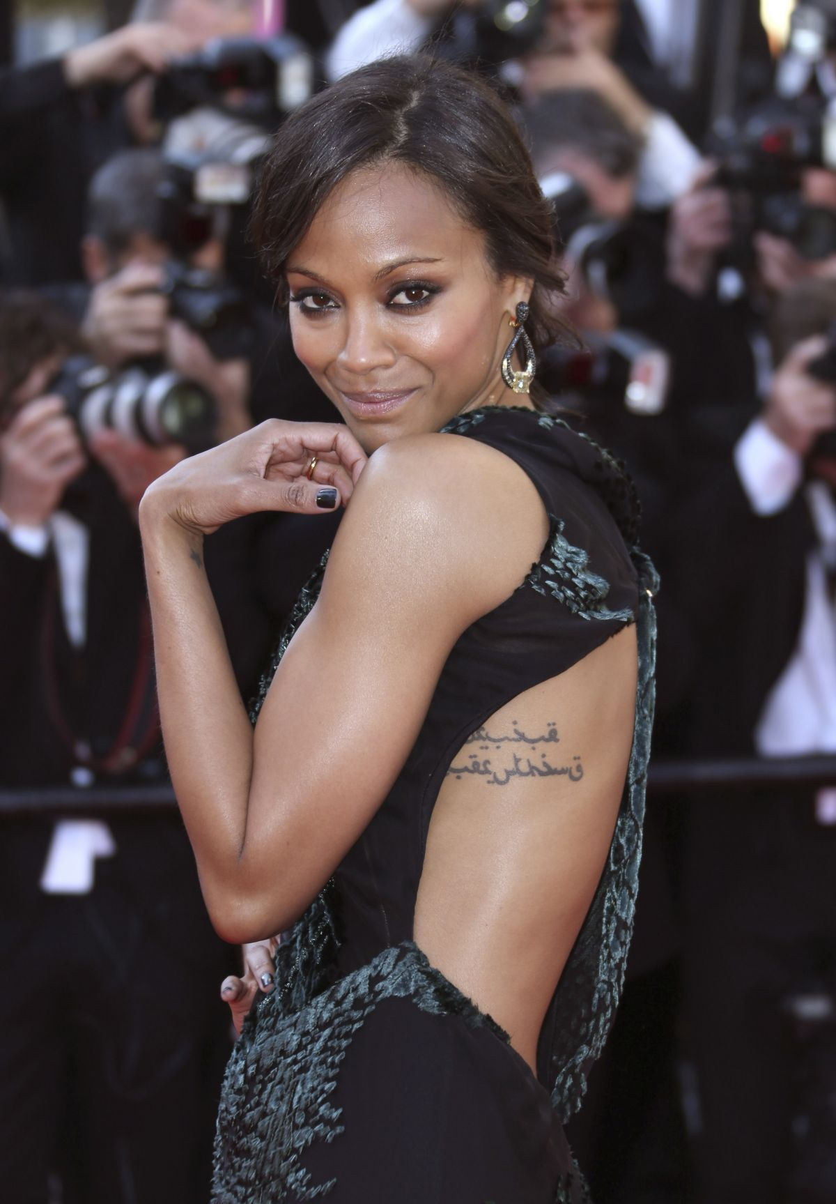 ZOE SALDANA at Mr Turner Premiere at Cannes Film Festival - HawtCelebs ...