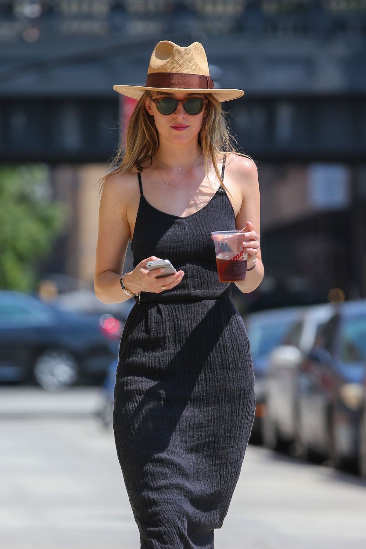 DAKOTA JOHNSON in Black Dress Out in New York