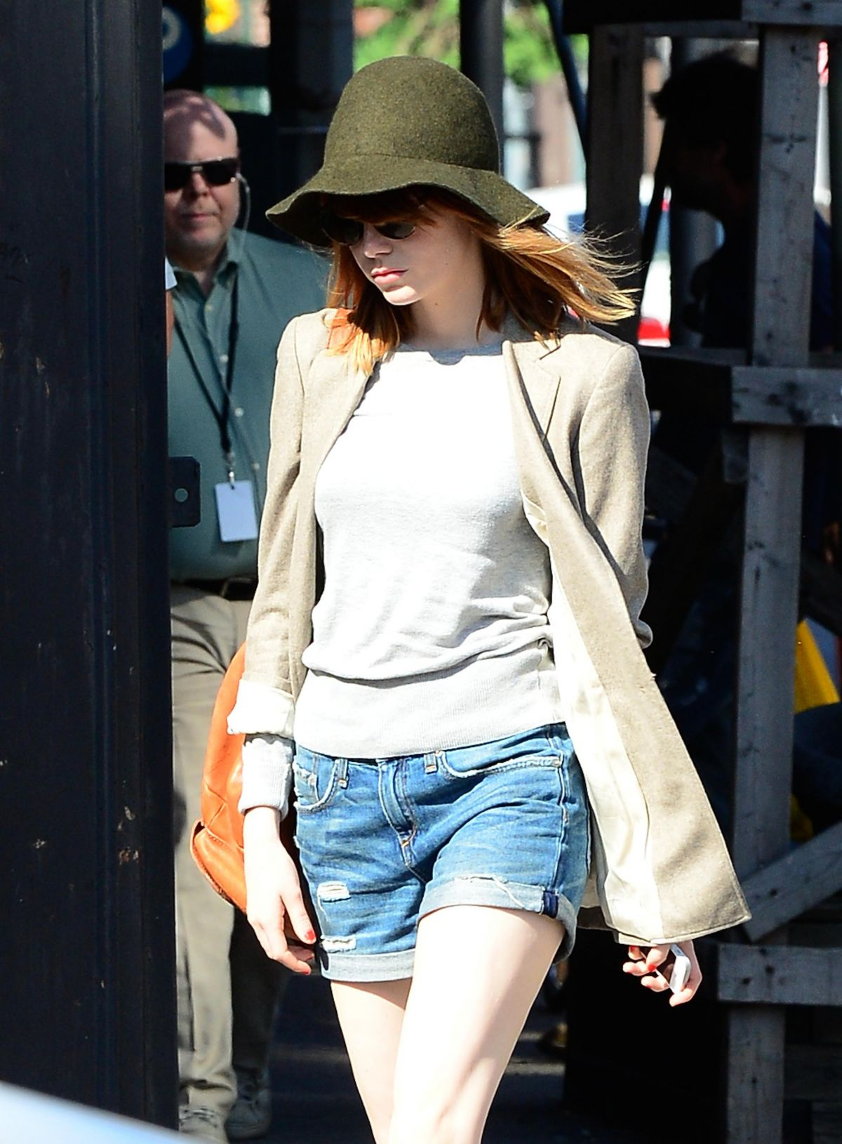 EMMA STONE In Denim Shorts Out And About In Soho HawtCelebs