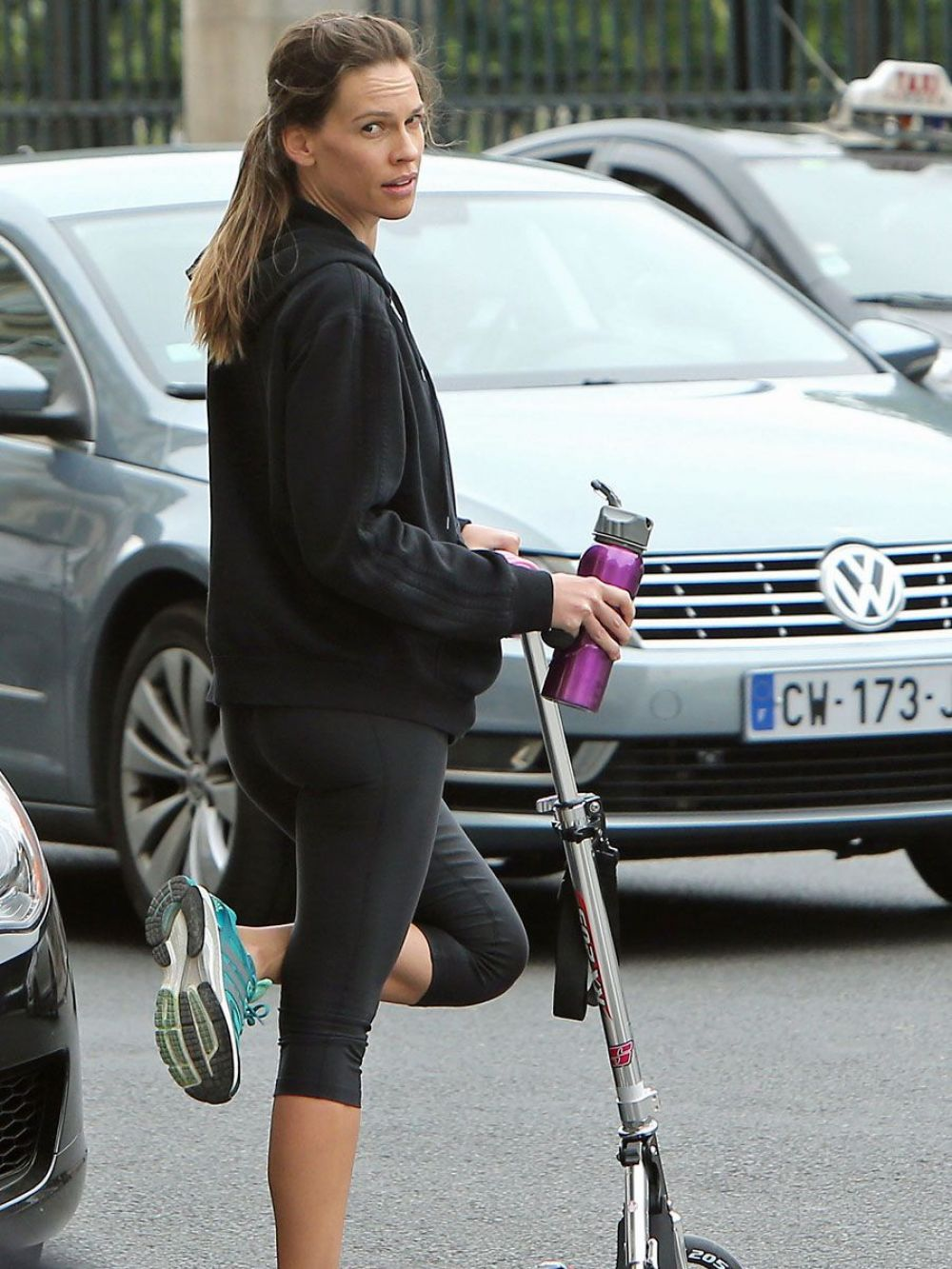 HILARY SWANK in Leggings Out and About in Paris