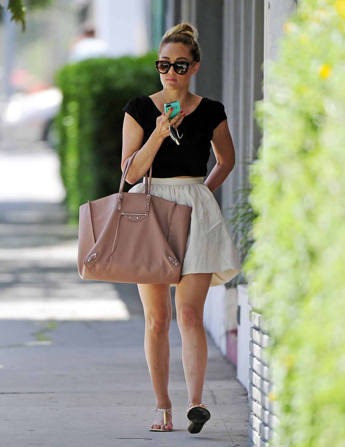 LAUREN CONRAD in Short Skirt Out in West Hollywood