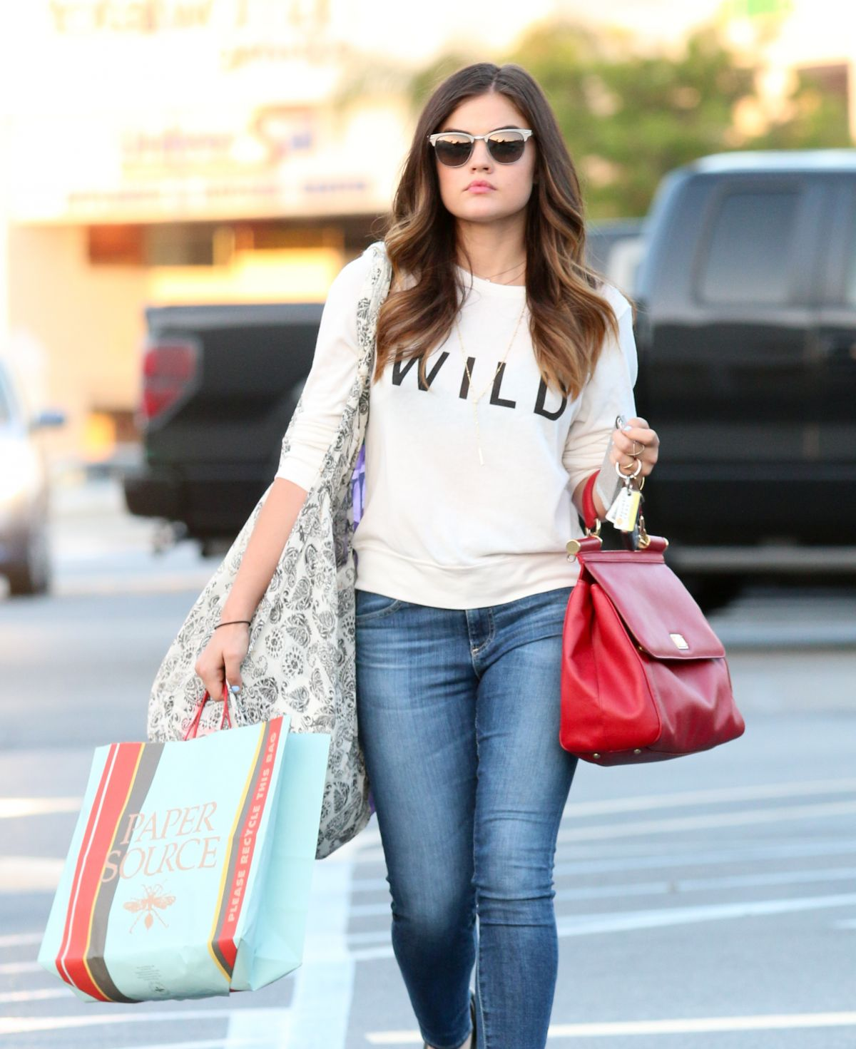LUCY HALE in Jeans Out and About in Studio City