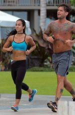 AJ LEE Out Jogging at a Beach in Hawaii