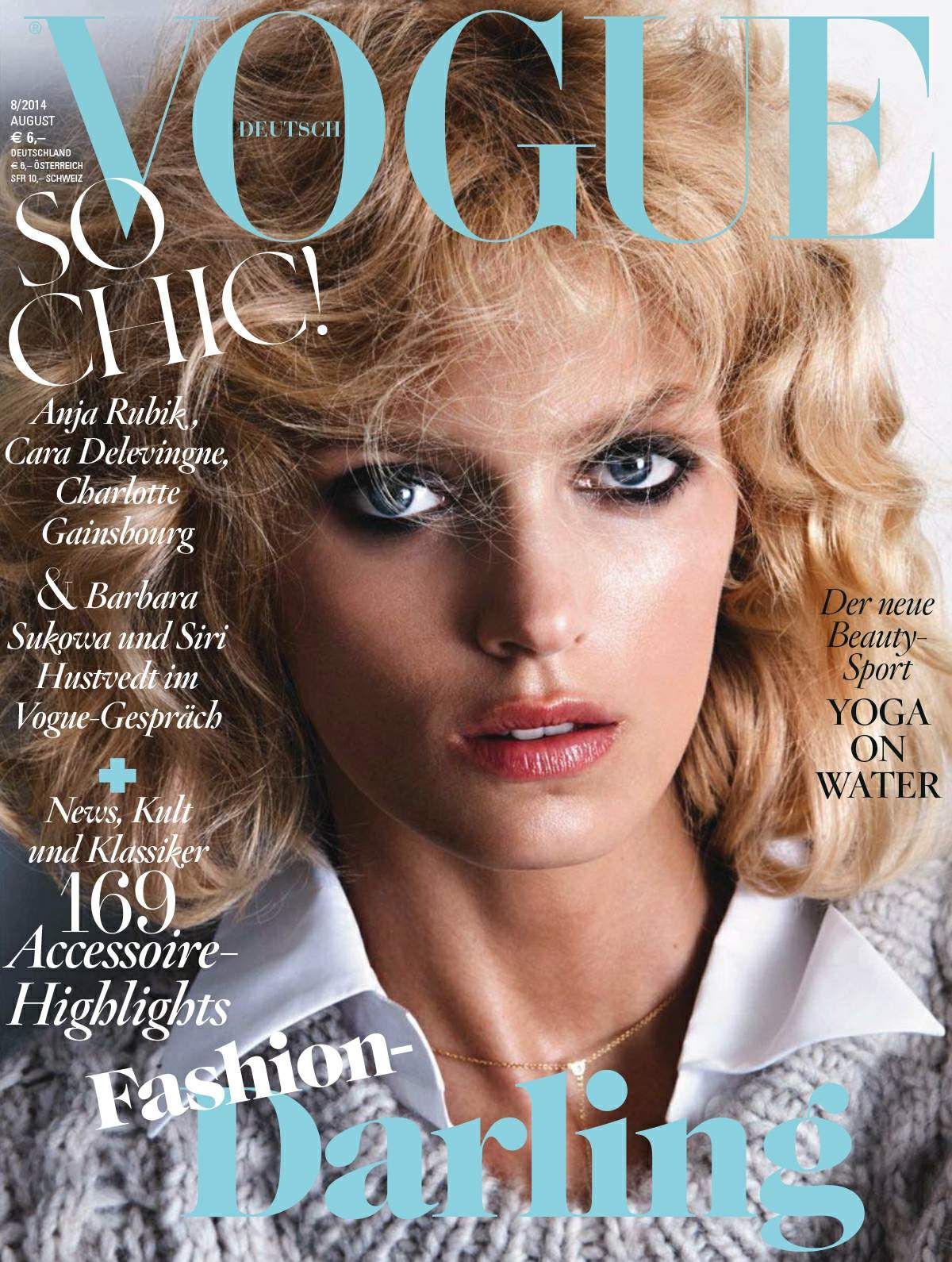 ANJA RUBIK in Vogue Magazine, Germany August 2014 Issue