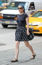 ANNA PAQUIN in Polka Dot Skirt Out in New York