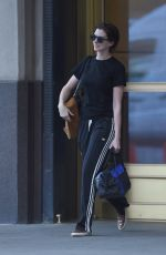 ANNE HATHAWAY Leaves Her Home in Brooklyn