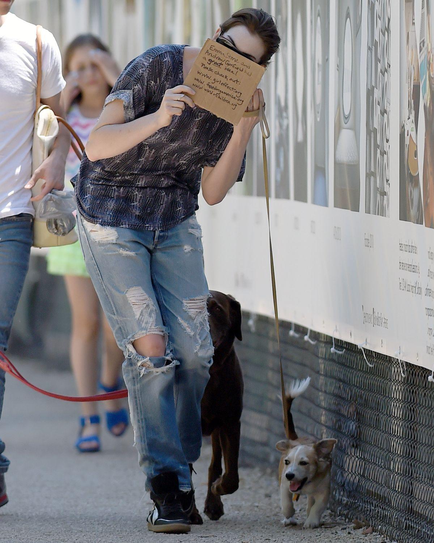 ANNE HATHAWAY Walks Her Dogs In Brooklyn