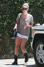 ASHLEY TISDALE in Denim Shorts Out in Studio City