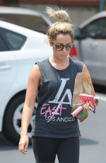 ASHLEY TISDALE Leaves a Rite Aid in Los Angeles