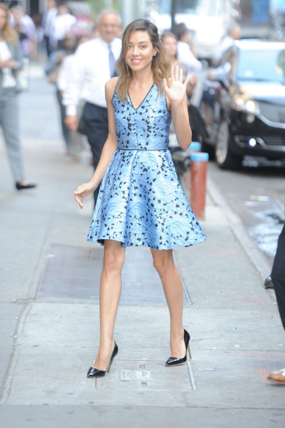 AUBREY PLAZA Arrives at Good Morning America in New York
