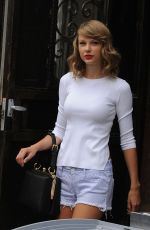 AYLOR SWIFT in SHorts Leaves Her Apartment in New York